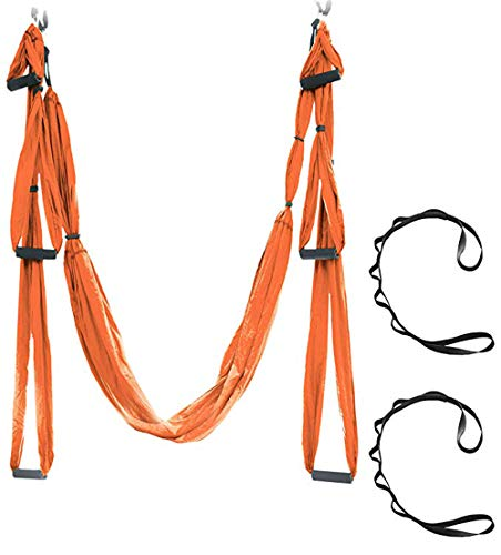 ZJXHAO Aerial Yoga Swing Set-Yoga Hammock/Trapeze/Sling Kit + Extension Straps-Antigravity Ceiling Hanging Yoga Sling Heavy Duty Carabiners-Inversion Swing für Anfänger & Kinder -