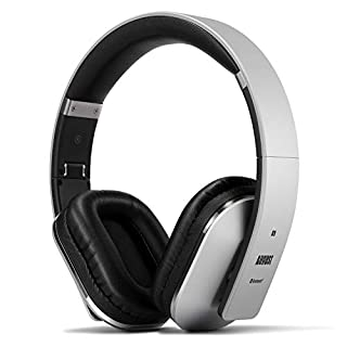 August EP650 Bluetooth Wireless Headphones - Custom Sound Control with Android/iOS App and Bluetooth v4.2, NFC and aptX LL Low Latency, Silver