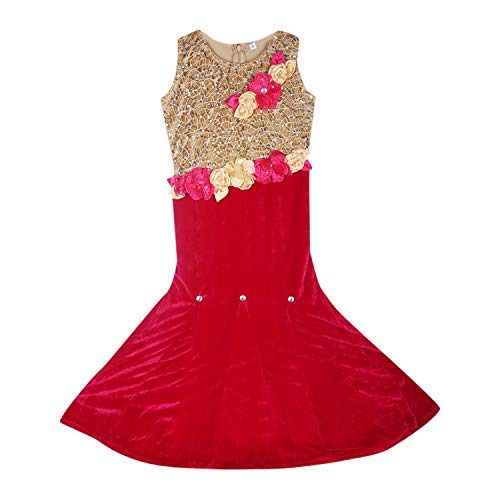 Aarika Girl's Pink & Gold Floral Design Gown (G-956-RANI_18_2-3 Years)