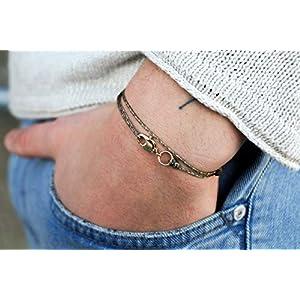 Dezentes Armband für Herren – edles Wickelarmband für Männer Minimalistisch – stufenlos verstellbar mit Karabiner-Haken…