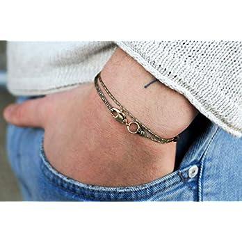 Dezentes Armband für Herren – edles Wickelarmband für Männer Minimalistisch – stufenlos verstellbar mit Karabiner-Haken Gold (Olive/Beige)