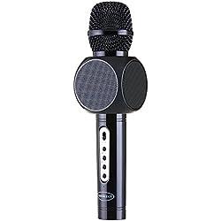 Amicool E103 Microphone sans fil portable pour karaoké Compatible avec Apple iPhone Android Smartphone ou PC, Home KTV Outdoor Party Muisc Jeux Singen à tout moment Noir