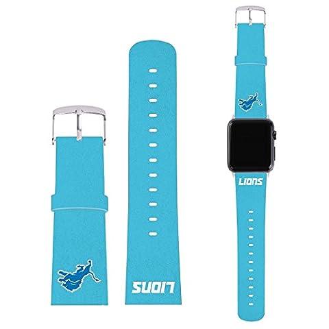 Officiel NFL Plaine Detroit Lions Logo Bracelet De Cuir à Boucle Synthétique Bleu Ciel pour 38mm Strap & Grey Adapter