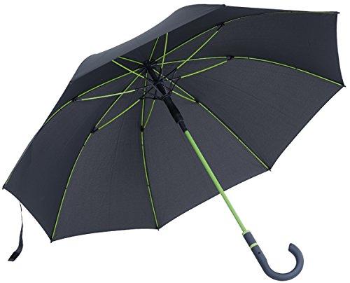 Automatik Regenschirm / Stockschirm für Herren und Damen Fiberglas, Stahlstock, Soft Touch Rundhakengriff, Windsicher (TÜV) 112cm Durchmesser, Farbe: Anthracite / Lime