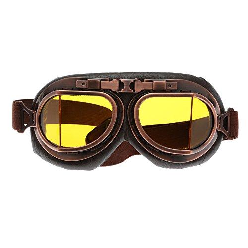 Helm Steampunk Vintage Sonnenbrille Schutzbrille für Outdoor Sport Motocross - Gelb Glas