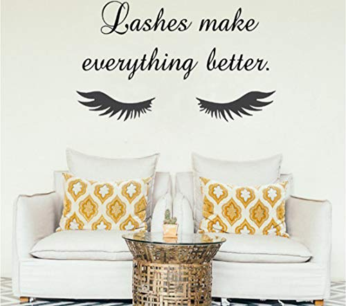 Geschlossene Wimpern Wandaufkleber Beauty Salon Wandbild Mascara machen alles besser Make-up Poster 57 * 96 cm