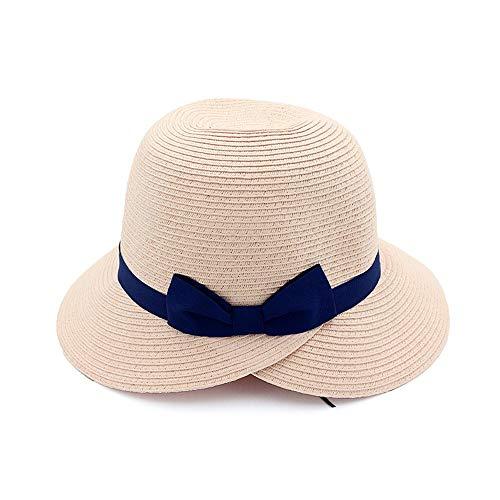 XY-women's hat Elegant Sommer Hut Damen Outdoor UV Sonnenhut Hut mit breiter Krempe Urlaub Hut Stroh Stricken Stilvoll (Farbe : Rosa, Größe : 56-58CM) (Sommer Stricken Hut)
