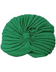 TOOGOO(R)Mujeres Envuelva Sombrero Elastico Turbante Banda de Cabeza Yoga Gorra(Verde)