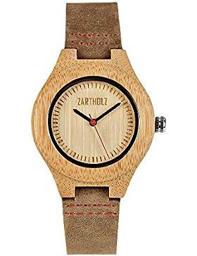 ZARTHOLZ Damen Holzuhr Armbanduhr Empor Rot aus Bambus Holz mit Lederarmband Analog Quarz Braun ZH002