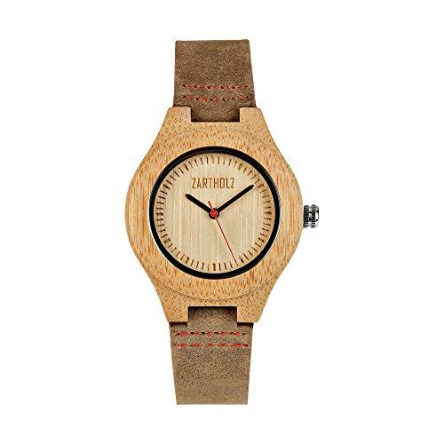 ZARTHOLZ Damen Holzuhr mit Lederarmband | Holz Armbanduhr aus Bambus Holz | Damenuhr klein | Analog Braun ZH002 (36mm Gehäusedurchmesser)