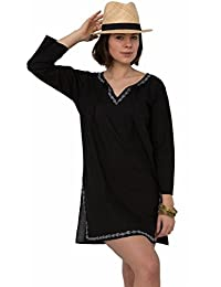 Robe Tunique Caftan noir en Coton à détail brodé main