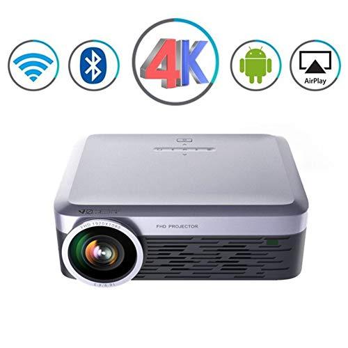 LLVV Beamer 3000 Lumen Tragbarer Projektor Full HD LED LCD Android WiFi Video Bluetooth Airplay Miracast Wireless 4K TV Intelligenter Heimkino-Projektor,Gray