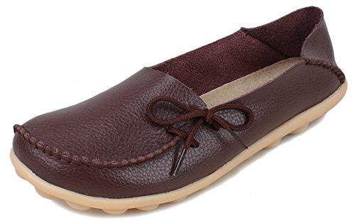 Kunsto  Loafer Flats, Mocassins pour femme Marron - marron