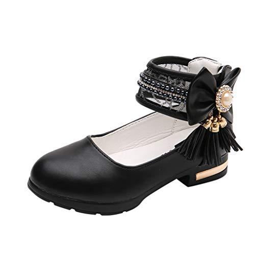 Kleinkind Sommer Schuhe/Dorical Mädchen Sommer Mode Tanzschuhe Ballerinas Sandalen mit Quaste Perle Bowknot Lauflernschuhe Kinder Prinzessin Casual Fashion Party Schuhe 27-35 EU(Schwarz,35 EU)