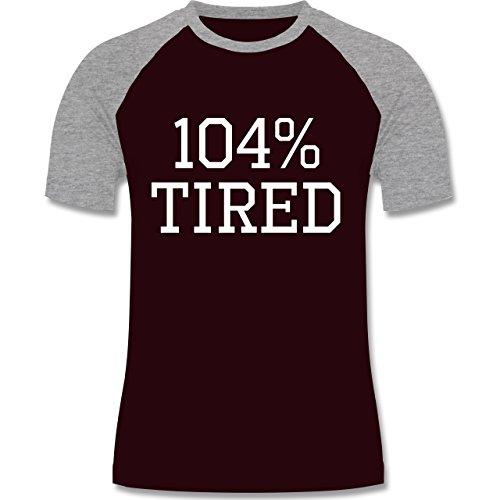 Statement Shirts - 104% tired - zweifarbiges Baseballshirt für Männer Burgundrot/Grau meliert