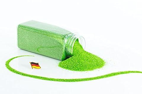 Sable coloré / sable décoratif TIMON, vert grenouille brillant, 0,1-0,5 mm, bouteille de 605 ml , fabriqué en Allemagne - Sable fin décoratif - monsterkatz