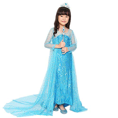 Styhatbag Halloween Kostüm Cosplay Kleid Mädchen verkleiden Sich Kostüm Pailletten Party Kleid für Halloween Schicke Party (Größe : XL(130-140cm))