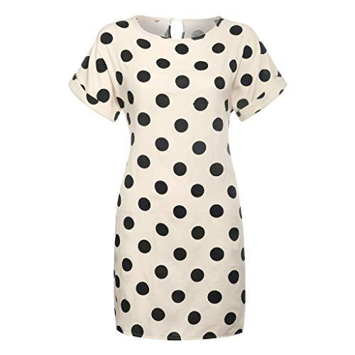 amen Rundhalsausschnitt Kurzarm Knielang Partykleid Boho Sommerkleid Blusenkleider Polka Dots Pinup Retro Rockabilly Kleid Freizeit Strandkleid Loose Minikleid ()