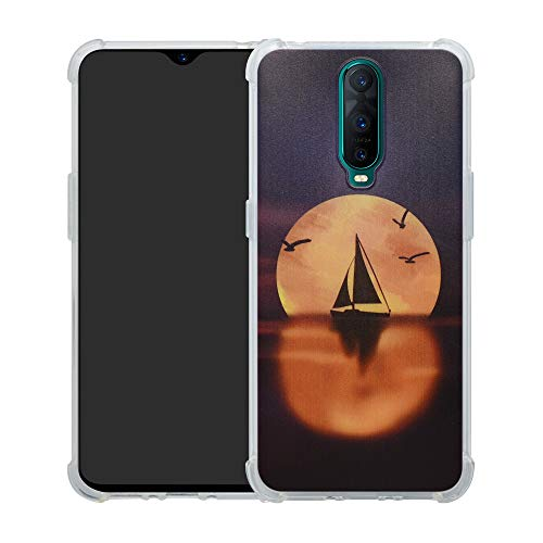 HHDY Wiko View 3 Hülle, Painted Muster Weich Ultradünne TPU Silikon Handyhülle Case Cover für Wiko View 3,Sailboats und Moon