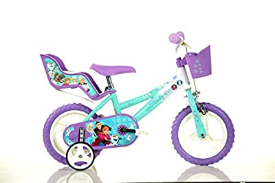 Frozen Kinderfahrrad Eiskönigin Mädchenfahrrad   TÜV geprüft   Original Disney Lizenz   Kinderrad mit Stützrädern, Puppensitz und Fahrradkorb - Das Anna und Elsa Fahrrad als Geschenk für Mädchen