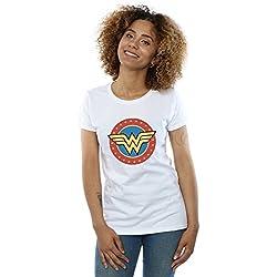 Absolute Cult DC Comics Mujer Wonder Woman Circle Logo Camiseta Blanco Small