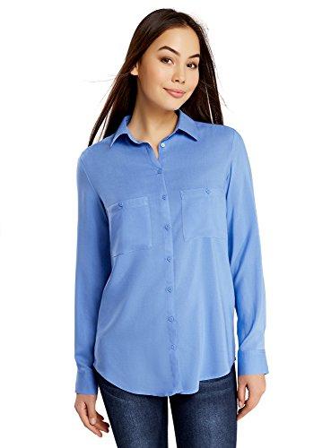 oodji Ultra Damen Viskose-Bluse Basic mit Taschen Blau (7501N)