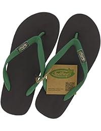 Feelfine'z: Manaus, marrón – verde, chanclas original de Feelfine'z hechas de caucho natural en las tallas 37/38 a 49/50.