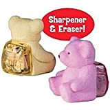 Friends Teddy Erasers With Sharpener For Kids (Pack of 12)