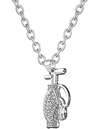 Crystal Golf Bag Sports Pendant Necklace Bodybuilding Jewelry For Women/Girl