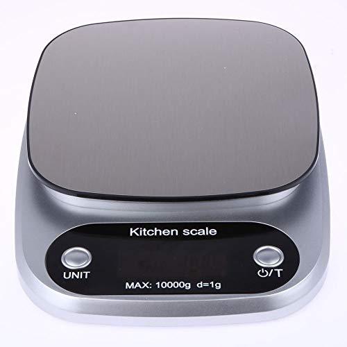 DuDuDu Échelle de Cuisine balances Alimentaire Cuisson Poids numérique LCD électronique pesant 10kg (Argent)