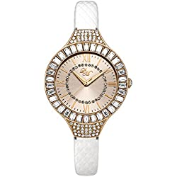 Little Mistress Women's Quartz Watch with Rose Gold Dial Analogue Display and White PU Strap LM011