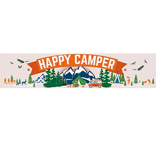 Happy Camper Banner, Camping Party Dekorationen Camping Dekorationen Camp Party Bunting Banner Camping Thema Party Zubehör, 70,9 x 15,7 Zoll