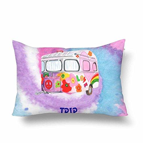 InterestPrint Hippie Camper Trailer - Funda de almohada, diseño de flores, para...