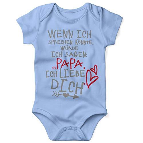 Mikalino Babybody mit Spruch für Jungen Mädchen Unisex Kurzarm Wenn ich sprechen könnte würde ich Sagen: Papa ich Liebe Dich | handbedruckt | Handmade with Love, Farbe:Sky, Grösse:68 (Daddy Und Baby Kostüm)