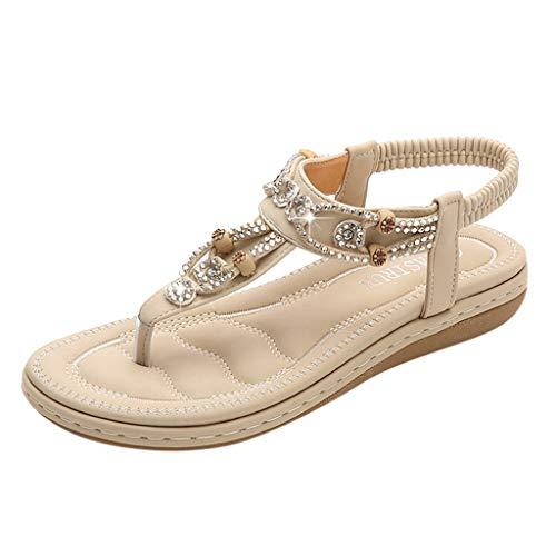 SHE.White Sandalen Zehentrenner Bohemian Strass Flach Sandaletten Sommer Strand Schuhe PU Leder Sommerschuhe mit Strass in Größe 35-42