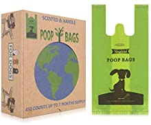 Yingdelai Biodegradable Dog Poo Bags with Easy Tie Handles - 450 Value Pack Large Thick Dog Poop Waste Bags with Fresh Scented,Not On A Roll, 7 Months Supply