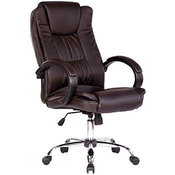 santana brown high back executive office chair leather swivel recline rocker computer desk furniture - Office Desk Chairs