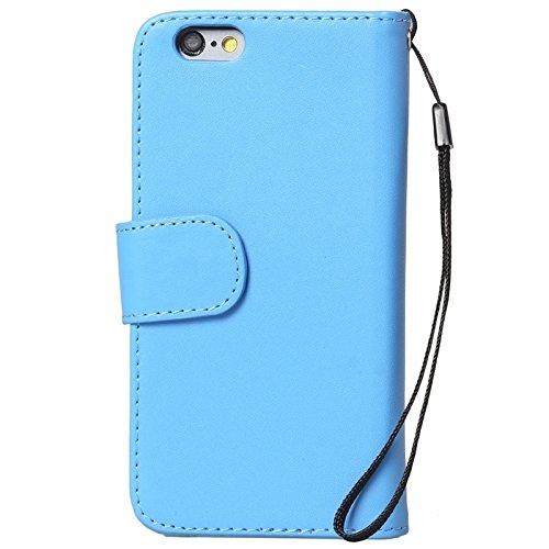 Wkae Case Cover Mappen-Art-Six-Karten-Slots PU Ledertasche mit Lanyard für iPhone 6 Plus & 6S plus ( Color : White ) Blue
