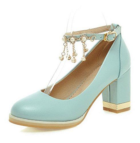 VogueZone009 Femme Pu Cuir Mosaïque Boucle Rond à Talon Haut Chaussures Légeres Bleu