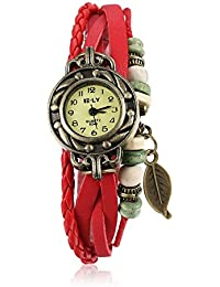 Naivo Women's Quartz Brass Plated Stainless Steel and Leather Casual Color:Red (Model: WATCH-1178)