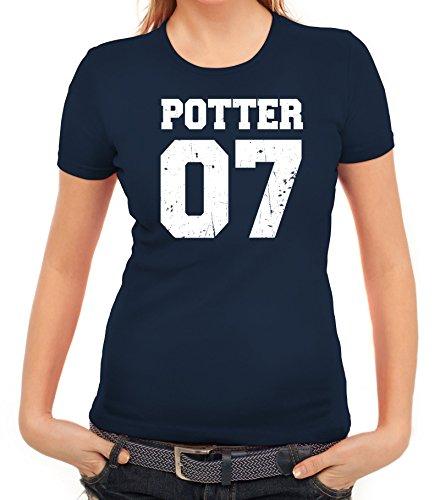 Fanartikel Fan Kult Film Trikot Damen T-Shirt Potter 07, Größe: XL,Dunkelblau