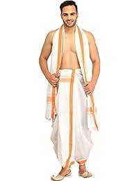 Exotic India Men's White Dhoti And Angavastram Set With Woven Border