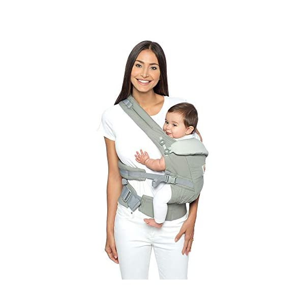 Ergo Baby Ergobaby Original Adapt Cool Air Mesh Baby Carrier Pearl Grey Ergobaby Baby Carrier for newborns – The ergonomic bucket seat gradually adjusts to your growing baby, to ensure baby is seated in a natural frog-leg position (M-shape position) from birth to toddler (3.2 to 20kg / 7-45lbs). NEW – Now with lumbar support. Long-wearing comfort for parents with even weight distribution between hips and shoulders. Lumbar support waistbelt that can be adjusted to the height of the carry position for extra, long-wearing comfort. Adapt 3carry positions: front-inward, hip and back. The carrier has a padded, foldable head and neck support and a tuck-away baby hood for sun protection (UPF50+) and privacy. It is possible to breastfeed in the carrier. 5