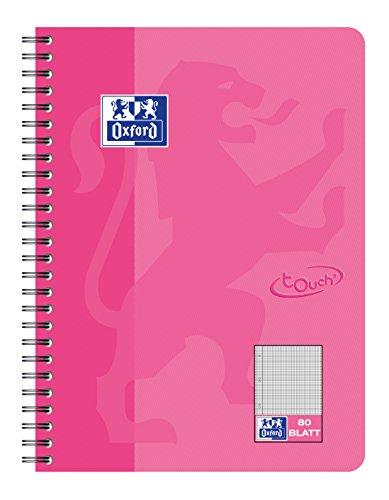 OXFORD 400086487 Collegeblock Touch 5er Pack im Format B5 80 Blatt kariert mit Rand rosa Schreibblock Notizblock Briefblock Schulblock