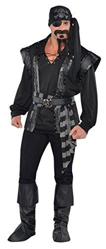 Luxuspiraten - Herren Kostüm Dark Sea Grimmiger Pirat mit Hemd Bandana Hüfttuch Gürtel Schuhüberzieher, 2XL, Schwarz