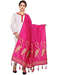 Ravechi Fab Women's Art Silk And Zari Work Dupattas (Dark Pink)