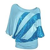 Damen Pullover Damen Bluse Pailletten Casual T-Shirt Top Kalte Schulterbluse Plus Größe Gestreiftes Oberteil Lose Spitze S-XXXL