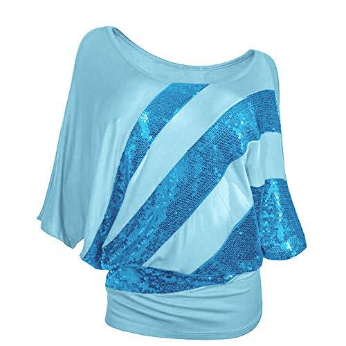 OIKAY Langarm-Shirt Damen Bekleidung T Shirt Blusen Top Damen Mode Pailletten Freizeithemd S-3XL