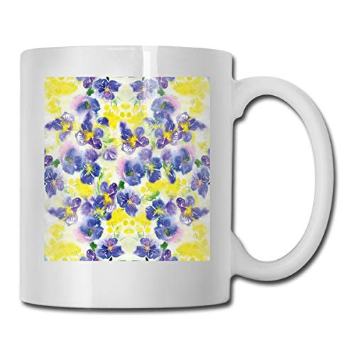 Jolly2T Funny Ceramic Novelty Coffee Mug 11oz,Butterfly Violet Field Garden In Vivid Colors Nature Print,Unisex Who Tea Mugs Coffee Cups,Suitable for Office and Home Butterfly Demitasse