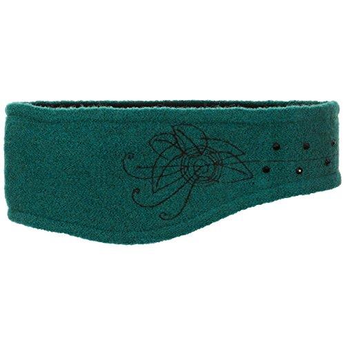 Lierys Walkstirnband mit Strass Stirnband Headband Stirnwärmer Ohrenschutz Ohrenwärmer für Damen Futter Winter (One Size - Petrol)